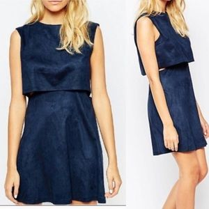 FashionUnion Navy Blue Suede Dress
